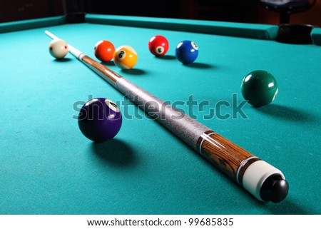 Billiard table with balls. Close-up. Narrow depth of field. - stock photo