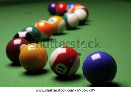 Billiard time! Table, balls and cue