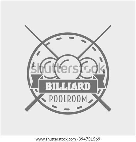 Billiards and snooker sports emblem, logo or badge design concept with balls, cue and text for sporting logo and leisure design - stock photo