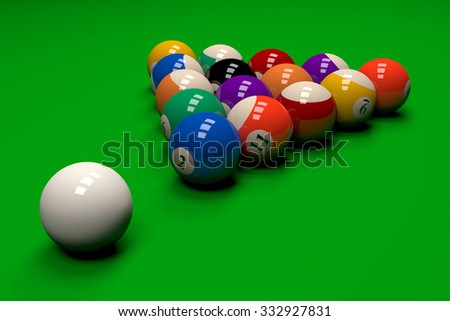 Billiards Game Field with Balls 3D Illustration