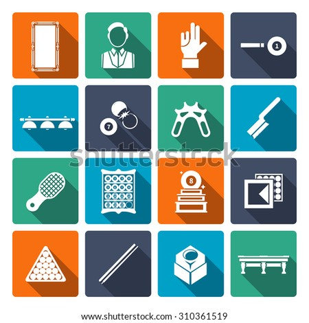 Billiards icons flat set with cue player table shot isolated  illustration - stock photo