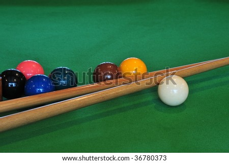 Billiards or pool balls on a green flet table with sticks - stock photo