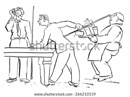 Billiards Player knocks the Host out - stock photo