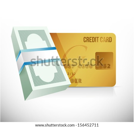 bills and credit card currency. illustration design over a white background