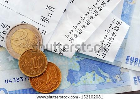 Bills and money - stock photo