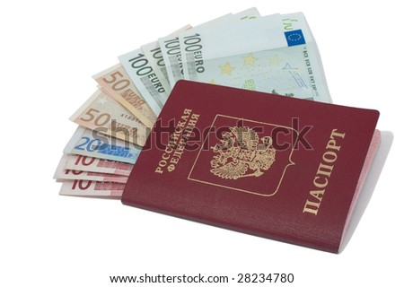 Bills in the russian passport isolated on white background