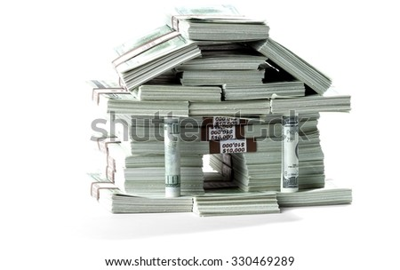 Bills in the shape of a bank - stock photo