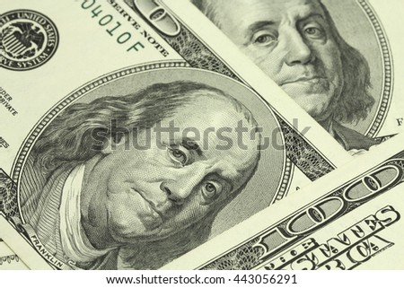 bills of one hundred American dollar abstract background - stock photo