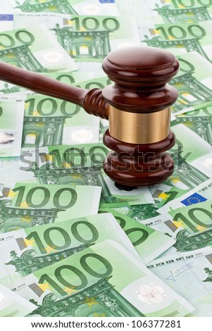 bills of the european union and a gavel. auctioneering. - stock photo