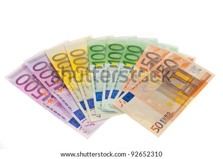 bills of the european union. euro currency on a white background - stock photo