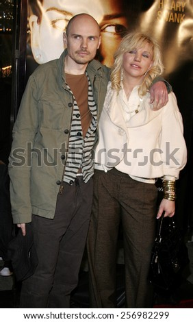 "Billy Corgan and Courtney Love at the Los Angeles premiere of ""Freedom Writers' held at the Mann Village Theatre in Westwood on January 4, 2007. - stock photo"