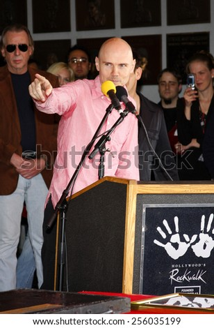 Billy Corgan and Jimmy Chamberlin attend the Hollywood's RockWalk inducts The Smashing Pumpkins held at the Guitar Center in Hollywood, California, United States on April 23, 2008.  - stock photo