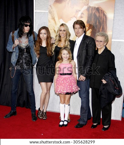 Billy Ray Cyrus, Tish Cyrus, Brandi Cyrus and Trace Cyrus at the Los Angeles premiere of 'The Last Song' held at the ArLight Cinemas in Hollywood, USA on March 25, 2010. - stock photo