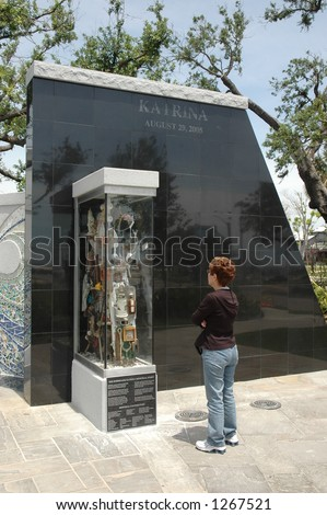 Biloxi hurricane Katrine memorial. Top of wall indicates storm surge level of 12 feet. - stock photo
