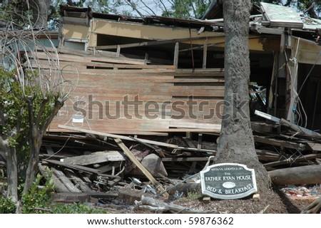 BILOXI, MS - APRIL 27: Destruction aftermath of Farther Ryan House due to hurricane Kartina  April 27, 2006 Biloxi, MS. - stock photo