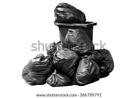 bin bag garbage dark black isolated on background white - stock photo