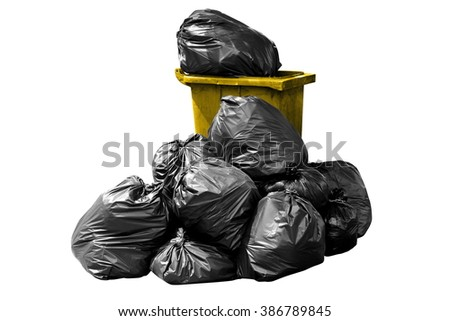 bin bag garbage yellow isolated on background white - stock photo