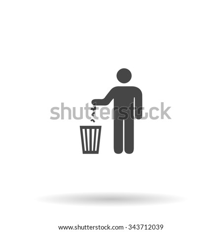 Bin. Flat icon on grey background with shadow - stock photo