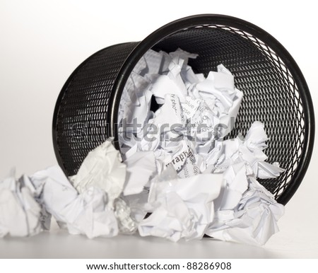bin full of paper trash - stock photo