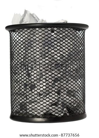 bin full of paper trash isolated on white background/bin/focus ot the centre of image - stock photo