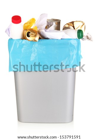 Bin full of rubbish isolated on white - stock photo