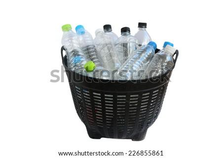 Bin of recycle plastic bottles - stock photo
