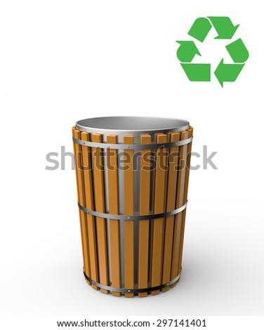 bin trash recycle illustration - stock photo