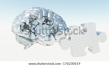 Binary Brain Puzzle - stock photo