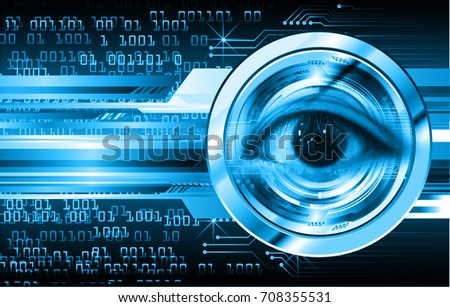 binary circuit future technology, blue eye cyber security concept background, abstract hi speed digital internet.motion move blur. pixel