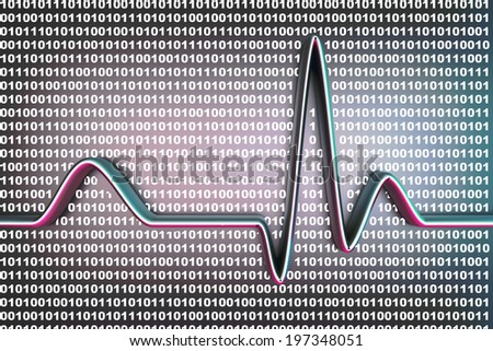 Binary code and a ECG line. 3D rendered Illustration. - stock photo