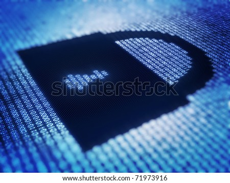 Binary code and lock on detail pixellated screen - 3d render with selective focus - stock photo