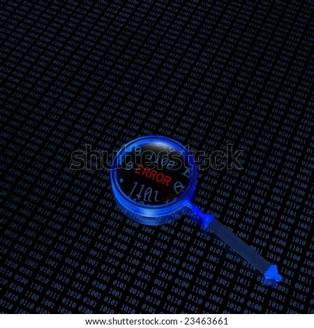 binary code and magnifying glass