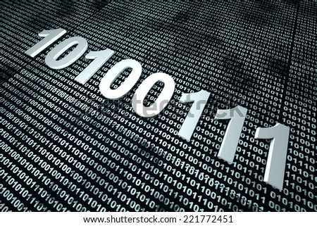 Binary code background. 3D Illustration. - stock photo