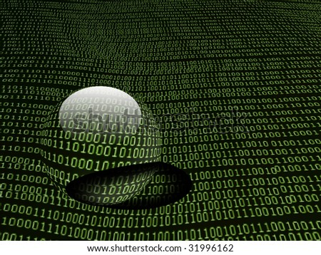 binary code background with glass ball