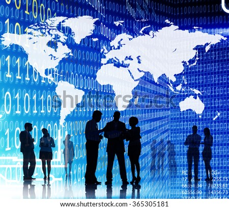 Binary Code Business People World Map Concept - stock photo