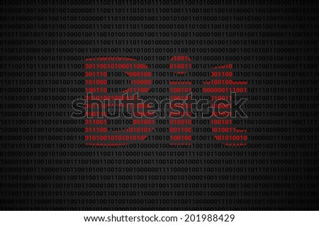 """Binary code concept with """"Bit"""" text appear on red binary code  - stock photo"""