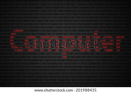 """Binary code concept with """"Computer"""" text appear on red binary code  - stock photo"""