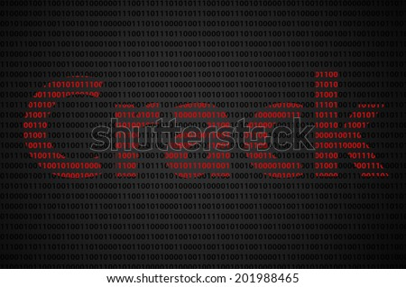 """Binary code concept with """"Crack"""" text appear on red binary code  - stock photo"""