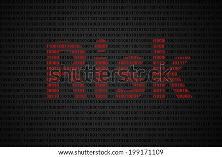 """Binary code concept with """"Risk"""" text appear on red binary code - stock photo"""