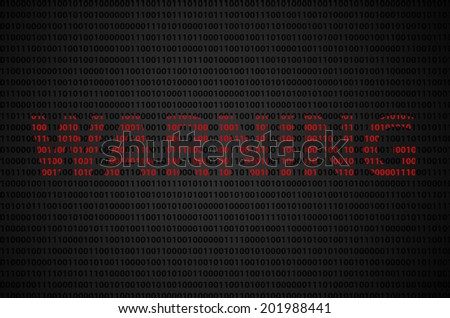 """Binary code concept with """"WARNING"""" text appear on red binary code  - stock photo"""