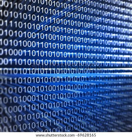 Binary code. 3d render image - stock photo