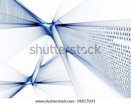 Binary code data flow, technology style background - stock photo