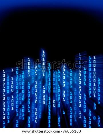 Binary code data flowing - stock photo