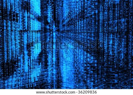 Binary code, data steam, technology background - stock photo