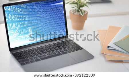 Binary Code Digits Technology Software Concept - stock photo