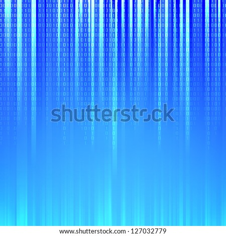 Binary code flowing over a blue background. Illustration. - stock photo