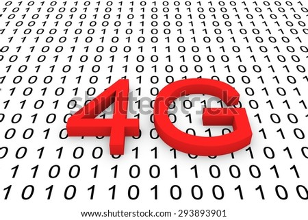 binary code generation of mobile communication with high requirements 4g - stock photo
