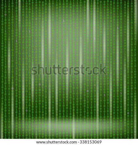 Binary Code Green Background. Concept Binary Code Numbers. Algorithm Binary, Data Code, Decryption and Encoding.