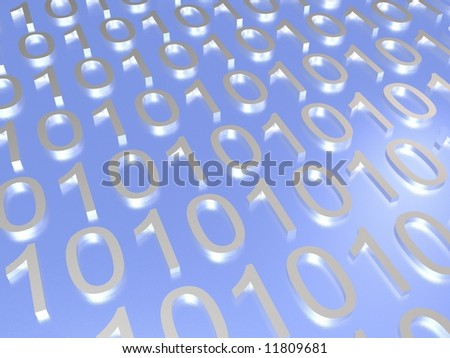 Binary code on a blue background - stock photo