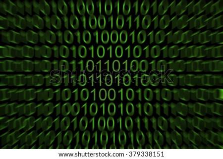 Binary code on computer - stock photo
